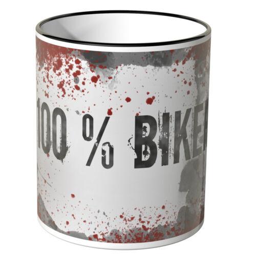 """Motoking Tasse mention/"""" 100/% Bike /""""Différentes Couleurs Cadeau Anniversaire"""