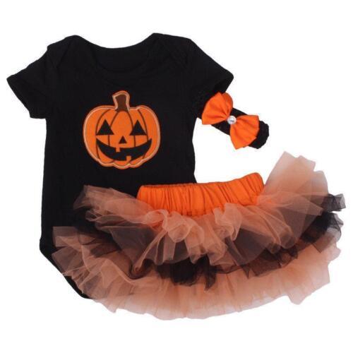3PC Baby Girl Pumpkin Romper Bodysuit Tutu Skirt Dress Headband Halloween Outfit