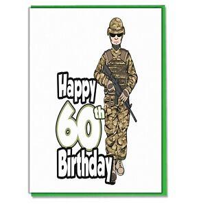 Soldier Army 60th Birthday Card Mens Son Grandson Dad Husband Brother Friend