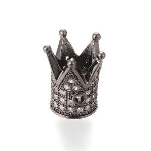 10pcs Brass Paved Cubic Zirconia Metal Beads Crown Gunmetal Black Spacers 12mm