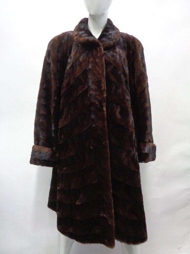 Excelente canadiense Marrón Esquilada visón Fur  abrigo chaqueta mujeres Mujer Talla 10-12  nuevo listado