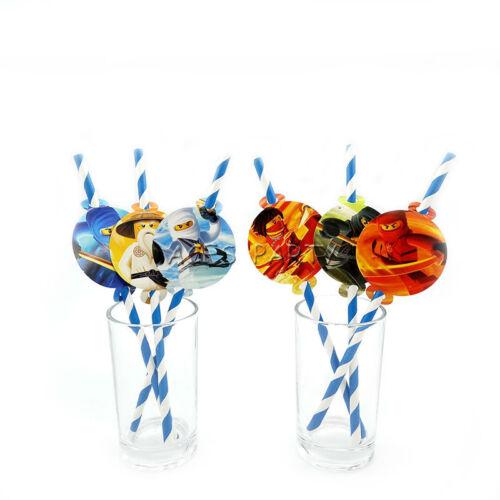 Ninjago Theme Straws Birthday Party Decoration Biodegradable Paper Straw Tube