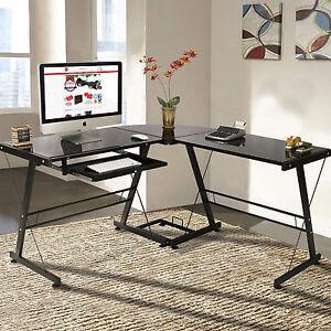 l shape computer desk pc glass laptop table workstation corner home office black ebay