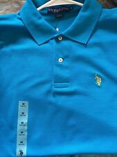 U.S. Polo Assn. Solid TLBL Blue Mens Polo Shirt Yellow Pony MEDIUM Rts: $42 NWT