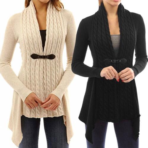 Ladies Women Long Sleeve Sweater Fit Casual Cardigan Outwear Coat Tops S-XL