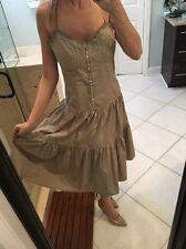 $238 BCBG MAX AZRIA  M CASUAL COCKTAIL Dress Military Babydoll GREEN Tan