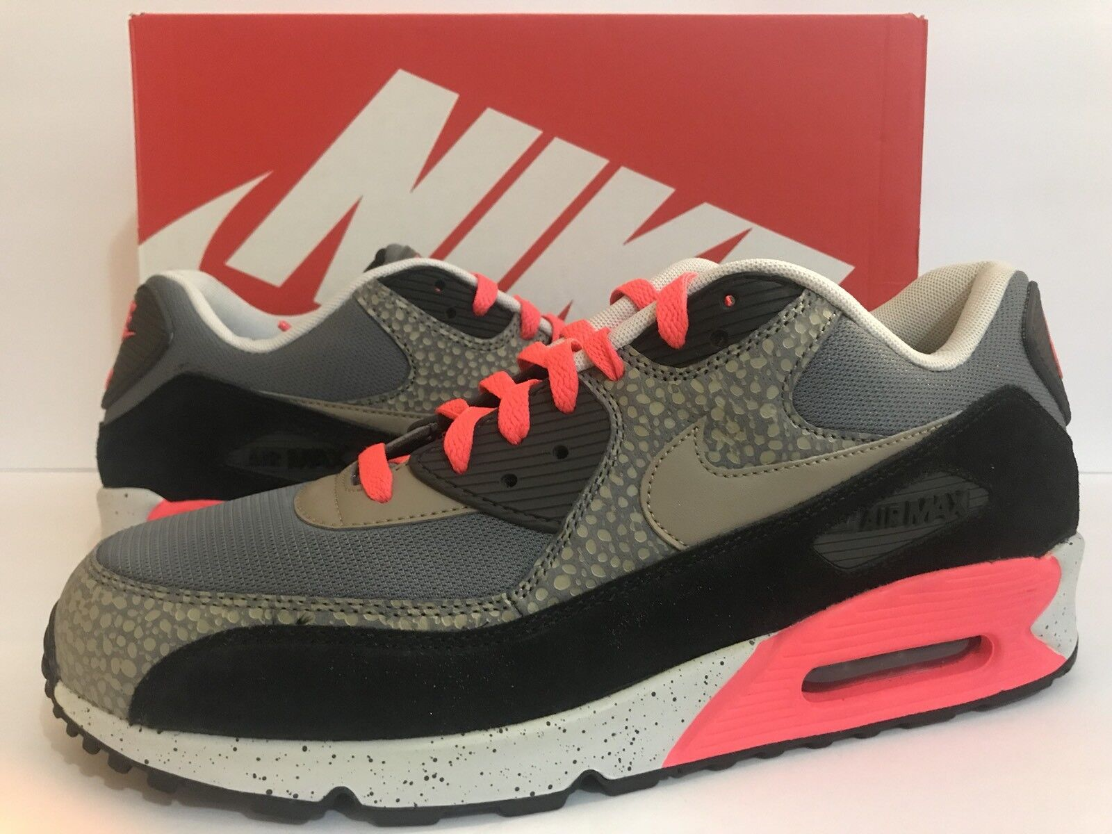 Nike Air Max 90 PRM Safari Grey/Black/Safari/Print 700155-006 Sz 12