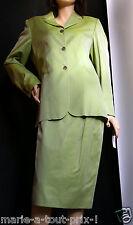 Superbe ensemble femme tailleur jupe + Veste vert anis nacré SOIE 44 B. ZINS !