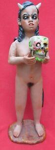 Tlaquepaque-Ceramic-Pablo-Paredes-Goche-Giant-Pomba-Gira-Devil-Woman-With-Skull