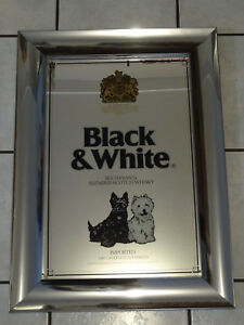 "Diligent Vintage Black & White Scotch Whiskey Mirrored Sign Large 30"" X 21"" ~fast S/h~ Advertising Mirrors"