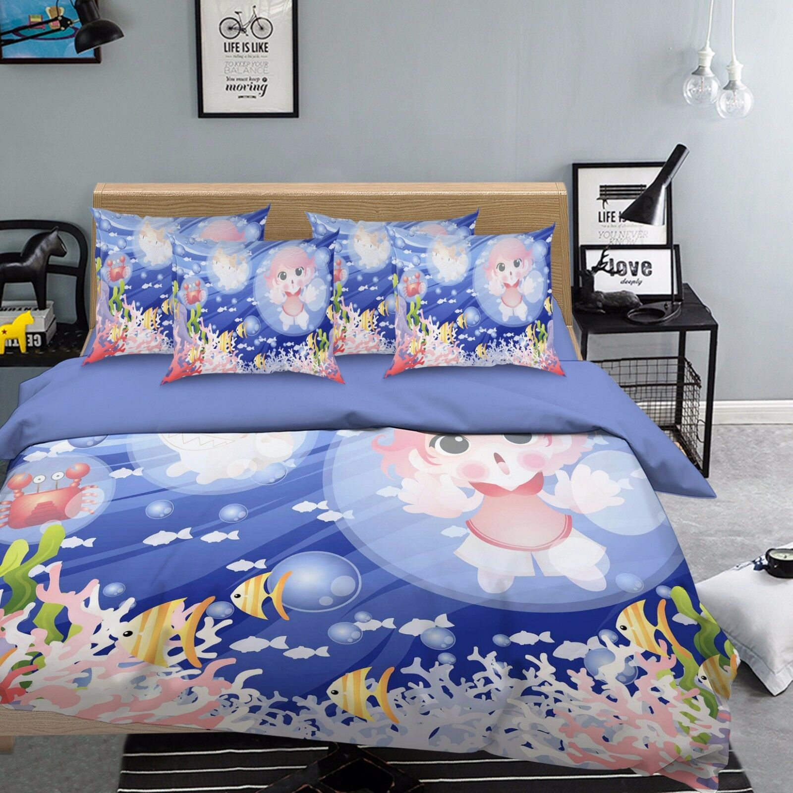3D Ocean Baby 760 Bed Pillowcases Quilt Duvet Cover Set Single Queen UK Carly