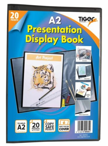 12 x A2 Premium Black Cover Display Book Presentation Folder Portfolio 20 Pkt