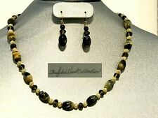 Soft Glowing Blue Yellow Tiger Eye  & Yellow Pearl Beads Necklace Set