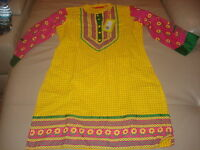 "BEAUTIFUL NEW  YELLOW &  PINK FLORAL COTTON LONG KURTA (BUST 37"") USA SELLER"