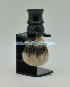 FS-Black-Plastic-Handle-Silvertip-Badger-Hair-Shaving-Brush-21MM-Free-Stand