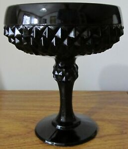 Tiara-Indiana-Glass-Black-Cameo-Diamond-Point-Footed-Candy-Dish-Bowl-Compote