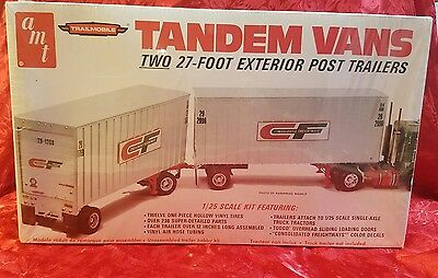 AMT TANDEM VANS SEMI TRUCK POST CF TRAILERS SEALED KIT BOXED 1/25TH SCALE BOXED