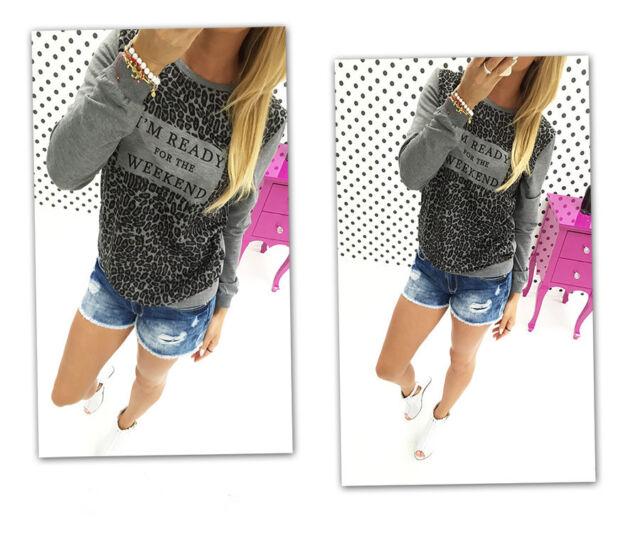 Women Crewneck Long Sleeve Print Pullover Outwear Jumper Casual Sweater Tops Tee