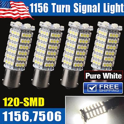 4x Pure White 1156 BA15S 120-SMD LED Tail Brake Stop Backup Reverse Light Bulbs