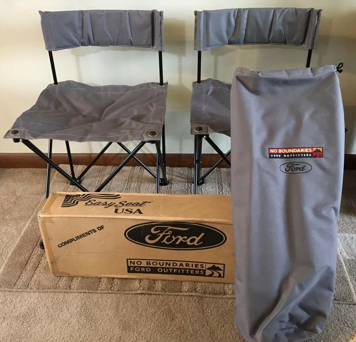 NEW Set Of 2 Ford Explorer Sport Grey Folding Chairs & Carry Case No Boundaries