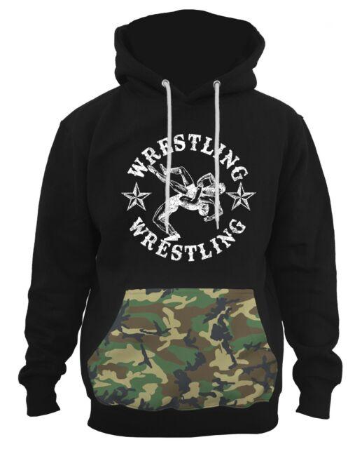 New Men/'s Wrestling American Flag Camo//Black Raglan Hoodie MMA Fighting Wrestle