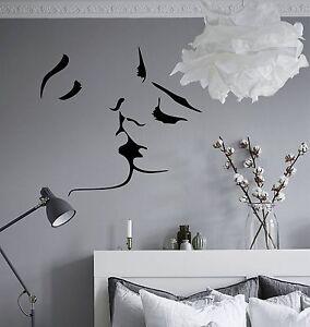 Dettagli su WD Adesivo murale VISO AMORE BACIO Immagini da parete Camera  letto Decalcomania