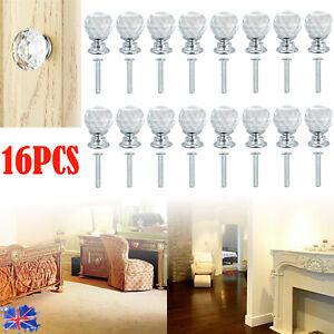 16PCS 20mm Crystal Diamond Glass Door Knob Cupboard  Cabinet Chest Pull Handle