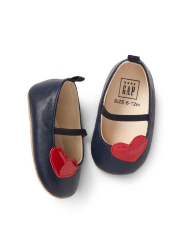 GAP Baby Girl Size 6-12 Months Navy Red Heart Valentine Mary Jane Flats Shoes