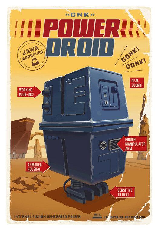 Jawa Sandcrawler Power Gonk Droid Star Wars Interpretive Vintage Toy Box Art