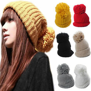 54cee8e81c162 Image is loading Womens-Pom-Pom-Winter-Warm-Knitted-Crochet-Slouch-