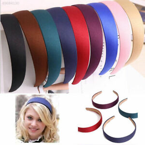 Lady-Girls-Wide-Plastic-Headband-Hair-Band-Accessory-Satin-Headwear-Decor