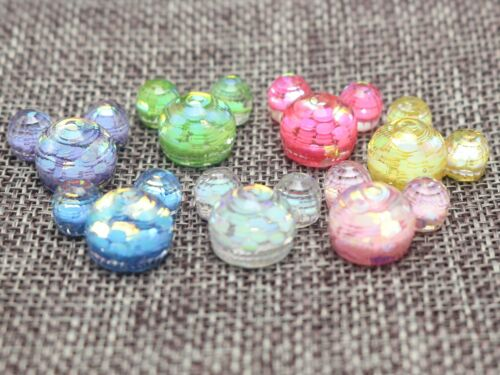 25 Mixed Color Flatback Resin Glitter Crystal Mouse Face Cabachons 20X18mm