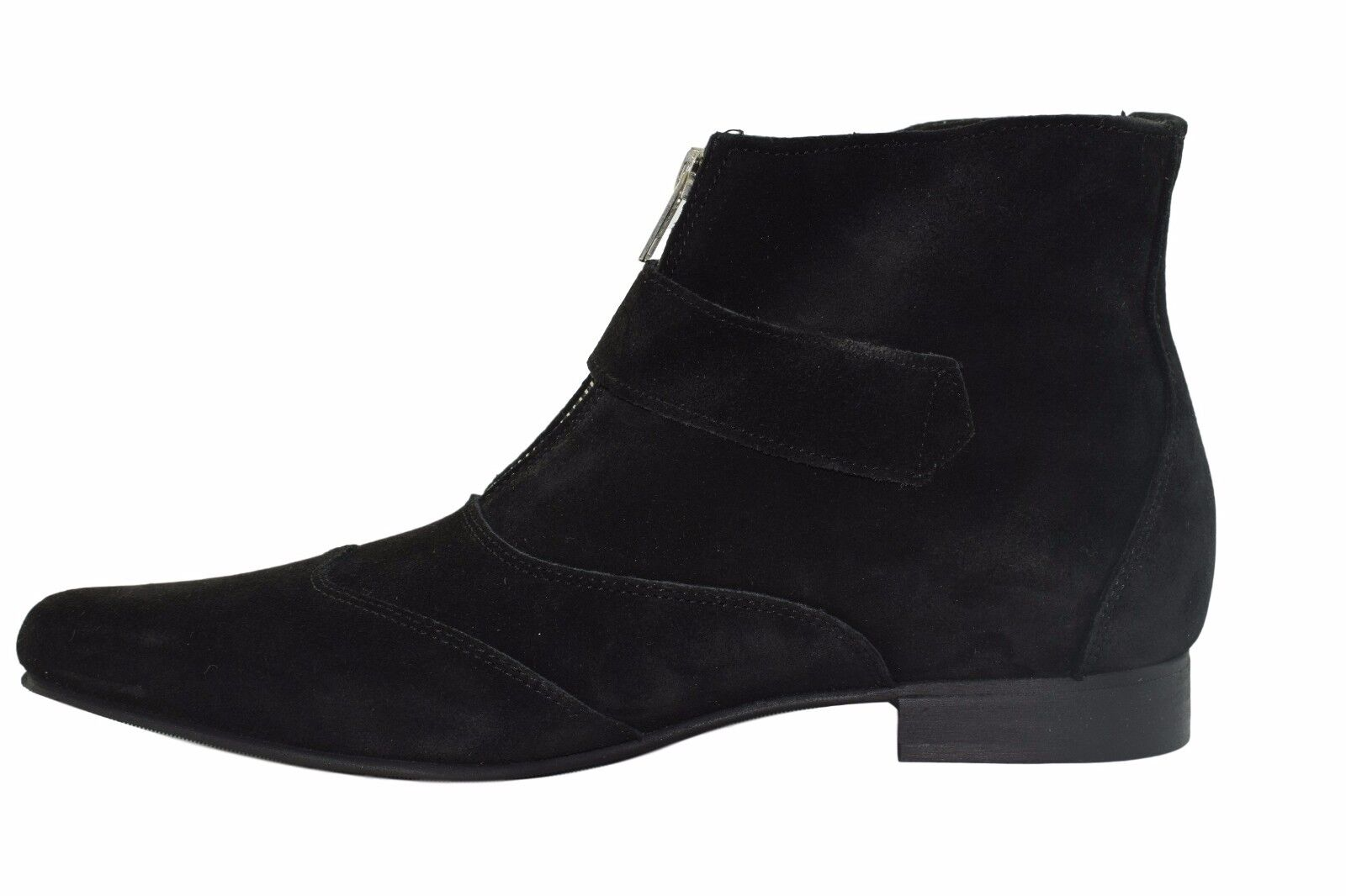 Steel Ground Black Suede Winklepicker Winklepicker Winklepicker Boots Buckle Pointed Ankle Boot Sb004Z4 235d24