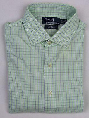 100% Vero Ralph Lauren Verde Blu Bianco Custom Regent Vestito Camicia Scelta Materiali