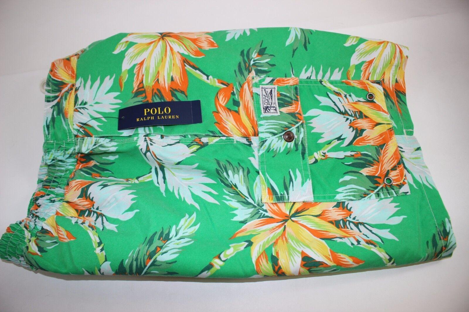 NWT RALPH LAUREN Size Small Men's Green ISLAND PALM Print POLO Swim Wear Trunks