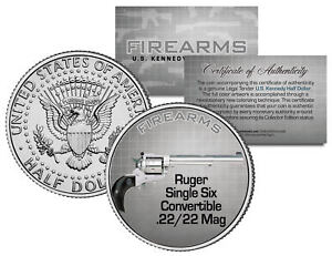 RUGER-SINGLE-SIX-22-Mag-Gun-Firearm-JFK-Kennedy-Half-Dollar-US-Colorized-Coin