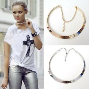 Fashion-Curved-Mirrored-Metal-Collar-Bib-Choker-Necklace-Punk-Exaggerated
