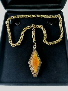 Nouveau-Deco-Faceted-Amber-Topaz-Czech-Glass-Necklace-Signed-Gold-Filled-Plate