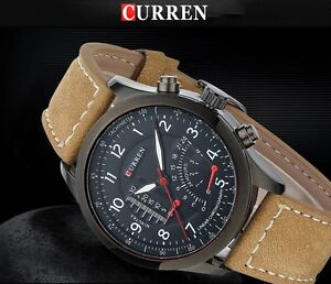 CURREN-Brand-Luxury-Genuine-Leather-Band-Business-Casual-Watch-For-Men