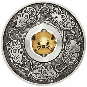 2020-Year-of-the-Mouse-Rotating-Charm-1oz-9999-Silver-Proof-Antiqued-Coin-PM