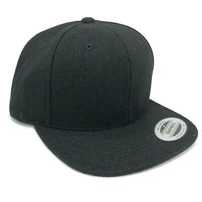 e6fea5329 Vintage Blank Yupoong The Classics Wool Blend Fuzzy Black Snapback Hat Cap  | eBay