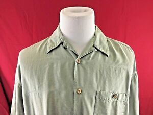 90a87cd5 Bobby Chan Green 100% Silk Button Up Camp Shirt Mens Large | eBay