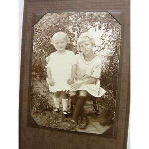 Antique-photograph-Two-young-girls-posing-outdoors-Folded-Cabinet-Card