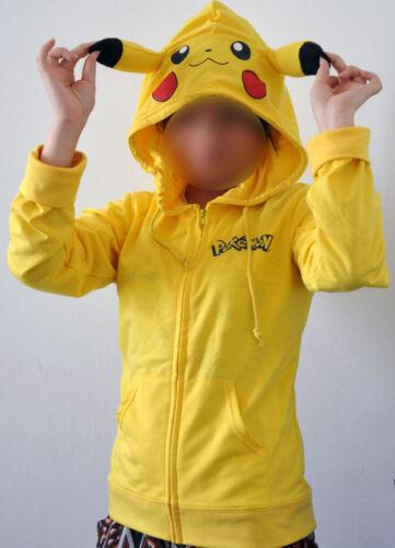 Fashion Hoodie Costume Japan Pokemon Pikachu Hoody Ears Face Tail Zip Sweatshirt