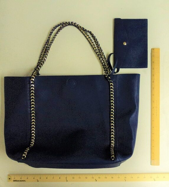 46b262c40a Women s Emperia Navy Blue Tote Purse Hand Bag With Chain Handles Style  Vegan for sale online