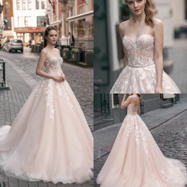 2020 Blush Sweetheart Wedding Dresses Lace Applique Bridal Ball Gown Custom Size For Sale Online Ebay