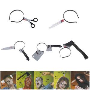 Halloween-Headband-Scary-Ax-Saw-Syringe-Scissors-Knife-Fake-Blood-Makeup-Prop-Hw