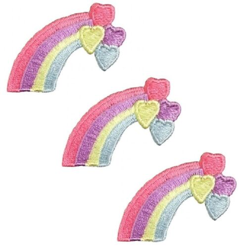 Pastel Rainbow with Hearts Applique Patch 3-Pack, Small, Iron on