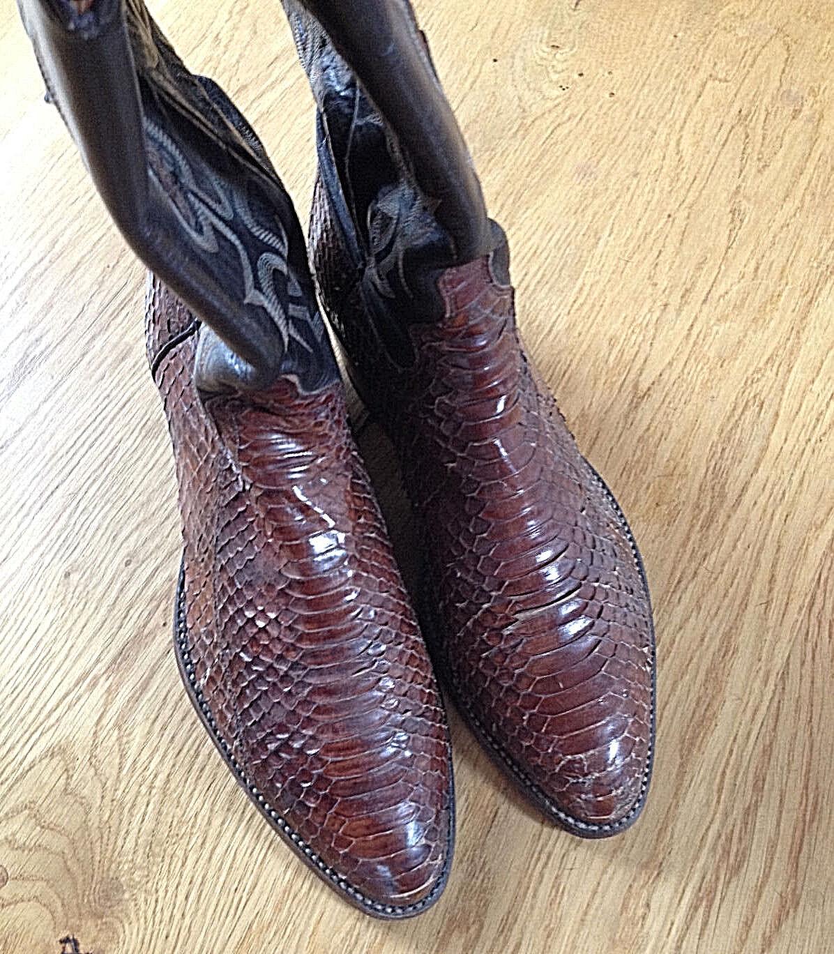 Cowboy Stiefel Biker Boots USA Echtes Phyton Schlangenleder Rocker Western TOP