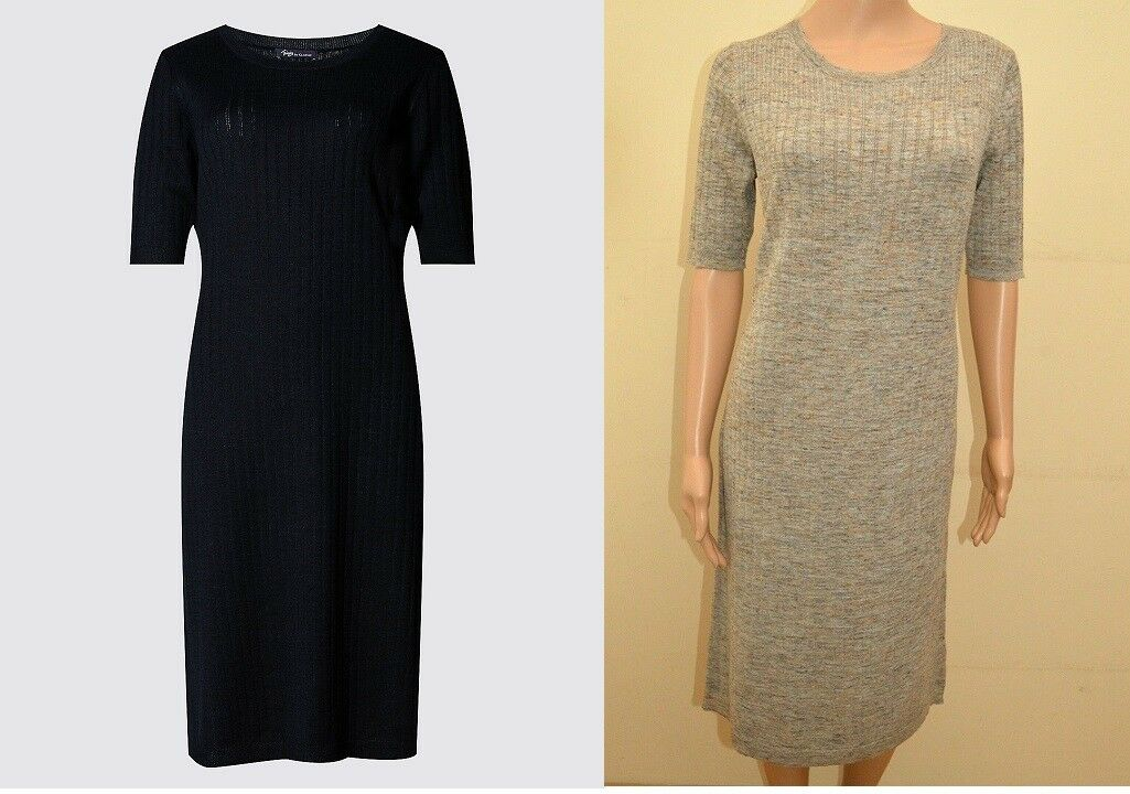 2a3c9448f4 Twiggy Classic Navy Oatmeal Knitted Linen Blend Dress Sz M S OR ouzyko6617- Dresses